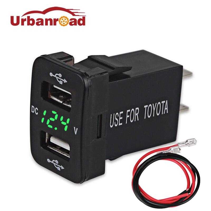 Urbanroad 4.2A Dual USB Socket Car Charger Cigarette Lighter Power Adapter For Toyota USB 12v Socket Voltage Meter Voltmeter