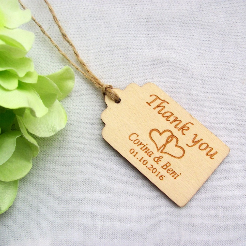 100pcs Personalized Engraved Thank  You Wedding Tags Wooden Tags Wedding Favor Tags Rustic Wedding Bridal Shower  Favor Tags