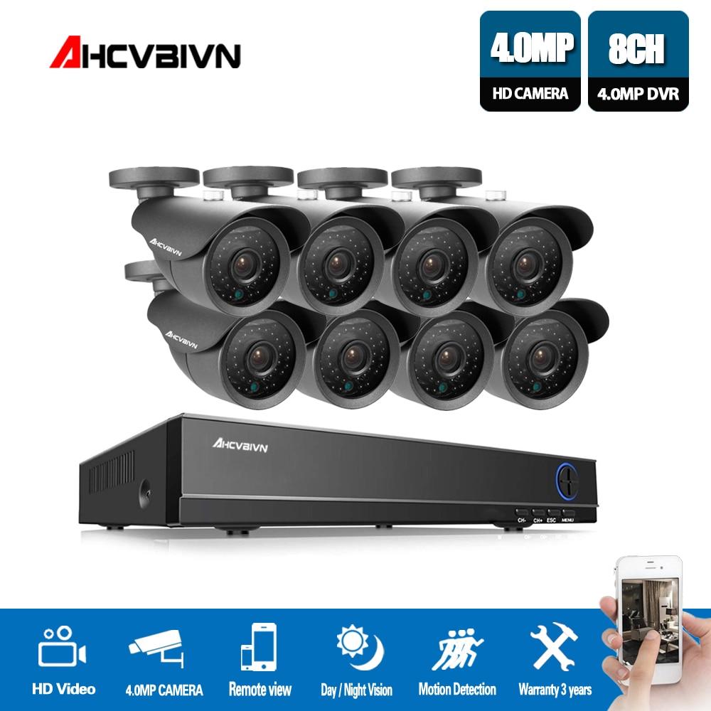 New Super Full HD 8CH AHD 4MP Accueil Extérieure CCTV Caméra Système 8 Channel Surveillance caméra de sécurité kit avec dvr