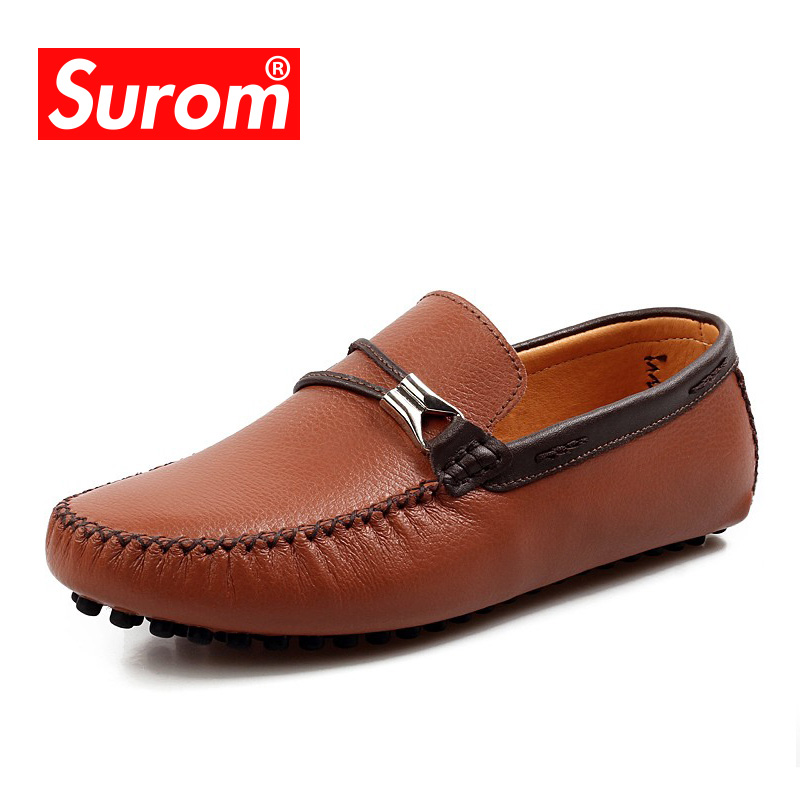 SUROM Brand Hot Sale Classics Loafers Men Leather Casual Shoes Spring Autumn New Fashion Driving Shoes Comfortable Men Flats 2015 hot sale new spring autumn women flats sweet bowtie casual fashion ladies wedding shoes