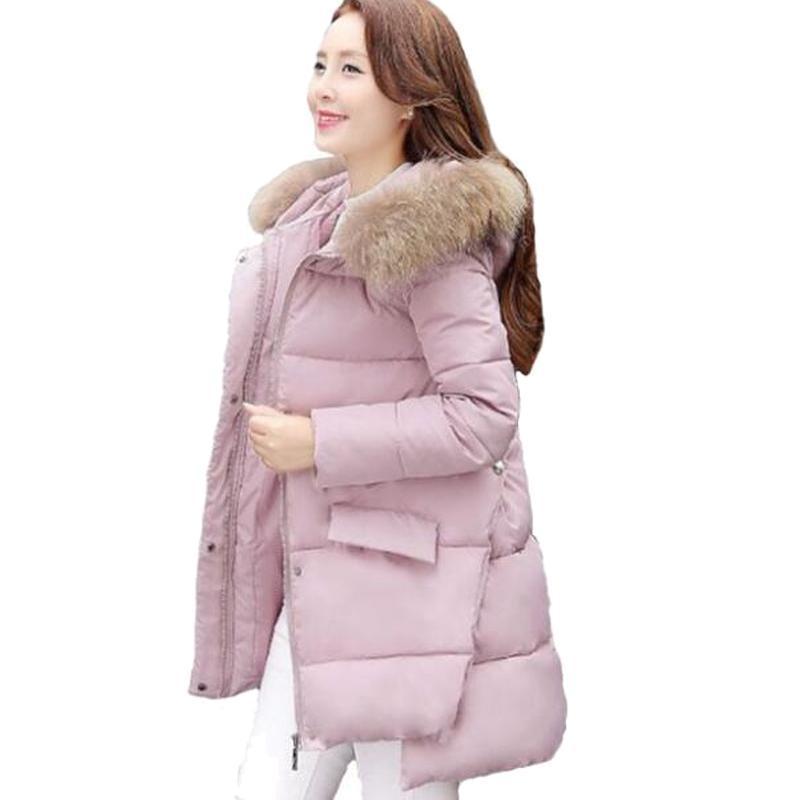 ФОТО Snow Wear Faux Fur Hood Parka Winter Jacket Women Thick Warm Cotton Winter Coat Women Casaco Manteau Femme