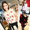 2016 Весна Осень Мода Корейский мило свободные свитера сексуальные губы штампа, печати мохер свитера теплые пуловеры