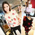 2016 Spring Autumn Fashion Korean cute loose sweater sexy lips stamp printed mohair sweaters warm pullovers
