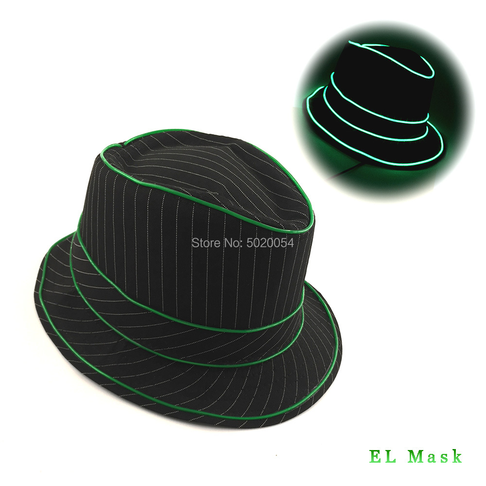 0c1b1458757 Popular Men's Gift Lighting LED Luminous Fedoras Topper Stage Dress Up Neon  Glowing Hats For Wedding Christmas Parties-in Men's Fedoras from Apparel ...