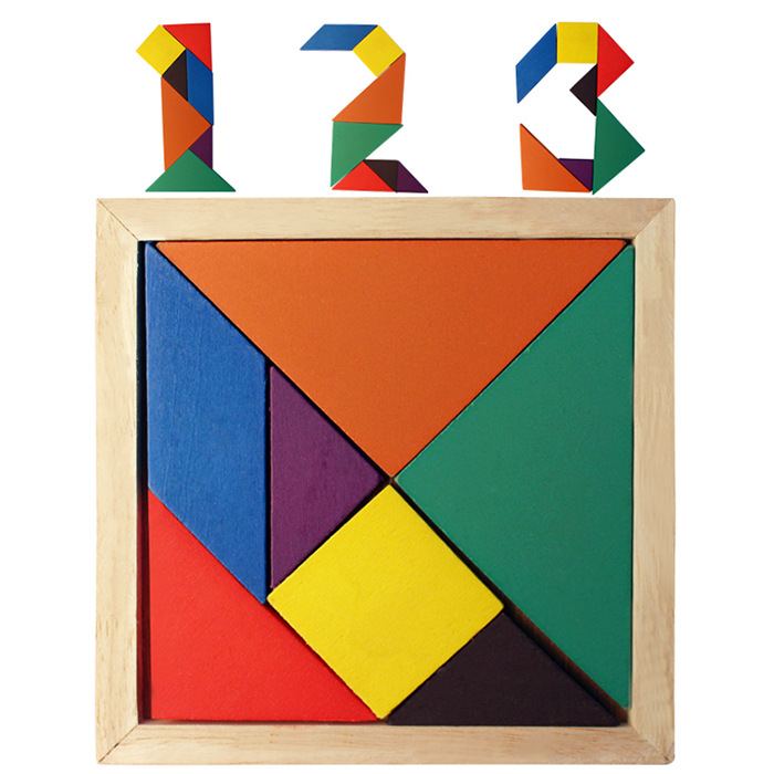 Wooden Tangram 7 Piece Jigsaw Puzzle Colorful Square IQ Game Brain Teaser Intelligent Educational Toys for Kids Action toy wood 3d puzzle military warships jigsaw diy children s toys game play model diy educational 3d puzzles jigsaw toy gifts for kids