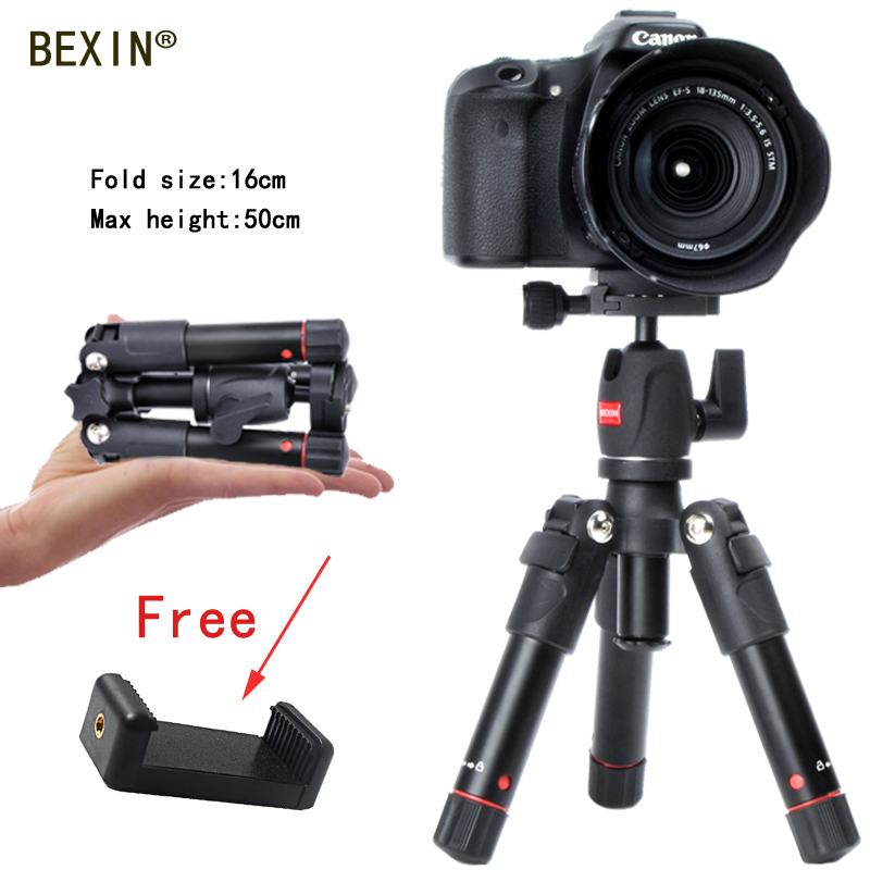 Aluminum Mini tripod Portable Folded Lightweight Compact Desktop Flexible Tripod for action camera with free phone tripod clip