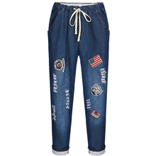 Plus Size XL-5XL Jeans for Women High Waist Boyfriend Jeans for Women Ripped Loose Jeans Appliques Punk Rock Style Denim Pants
