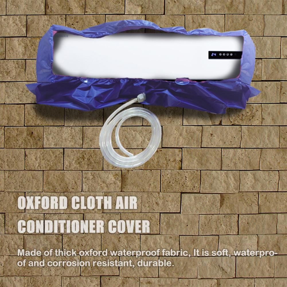24m/35m Blue Air Conditioning Cleaning Cover Oxford Cloth Dustproof Waterproof Household Hanging Cleaning Cover With 2.5M Drain