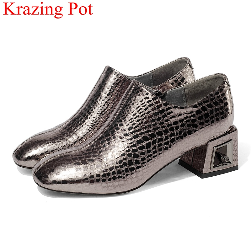 2019 new arrival fashion big size high heels genuine leather women pumps zipper casual office lady