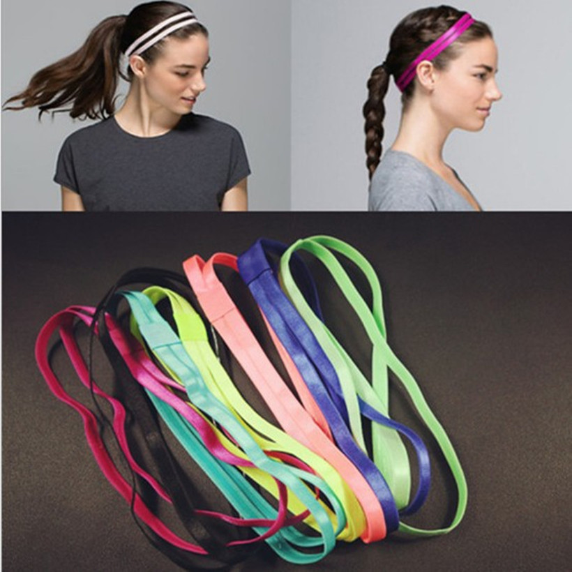 Women Men Gym Anti-slip Sports Headband Double Rubber Elastic Yoga Hair Band Cheap Candy Color Exercise Headbands