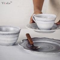 European Court 1 person dinner set white porcelain plate ceramic dish Tableware for Restaurant Dish Tray Home Decoration