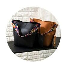 Brand Luxury Handbags 2018 Designer Women Leather Wide Strap Bag Female Shoulder Bag Women Messenger Bags Bucket Tote Big