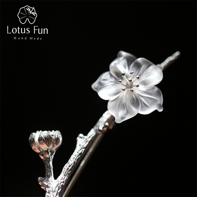 Lotus Fun Real 925 Sterling Silver Natural Quartz Handmade Fine Jewelry Flower in the Rain Design Brooches Pin Broche For Women lotus fun real 925 sterling silver handmade fine jewelry natural crystal lily of the valley flower brooches for women brincos