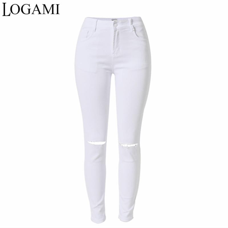 High Waist Jeans Ripped Stretch Pants For Women 2017 Skinny Jeans Woman Jean Trou Genou Femme Slim American Apparel high waist jeans ripped stretch pants