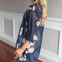 Floral Print Beach Kimono Cardigans Dark Blue Lace Decor Beach Kimono Blouse Three Quarter Sleeve Long