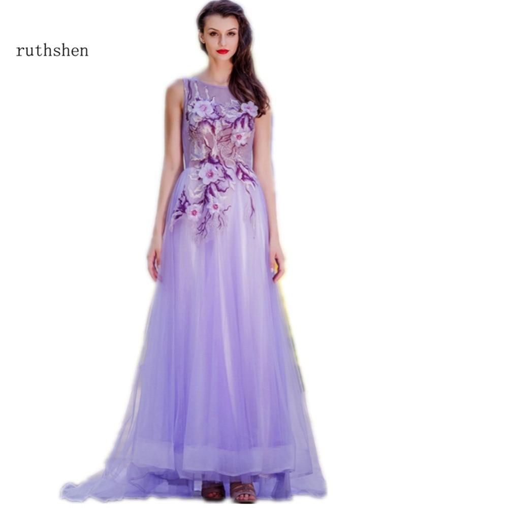 ruthshen 2018 Evening Dresses Sheer Neck Embroidered 3d Floral Light ...
