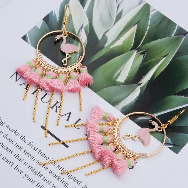 8seasons Handmade Earrings Gold Color Pink Flamingo Animal Tel Women Jewelry Trendy 11cm 4 3 8 X 5cm 1 Pair
