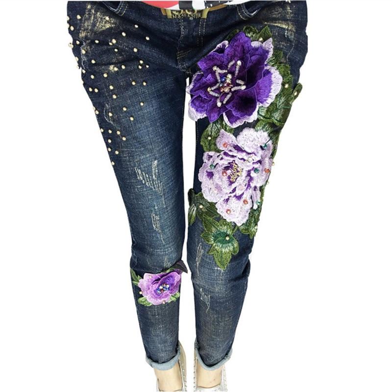 Big Flowers Beading Women s Denim Pants New Scratched Jeans Vintage Female Casual Pencil Pants