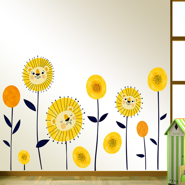 Yellow Sun Cartoon Lion Face Flowers Removable Wall Sticker for Baby ...