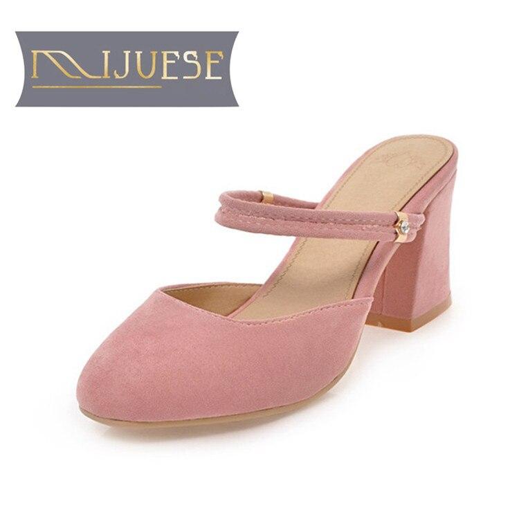 MLJUESE 2018 women sandals Black color summer slides high heels slippers women size 34-43 high quantity medicine detection type blood and marrow test slides