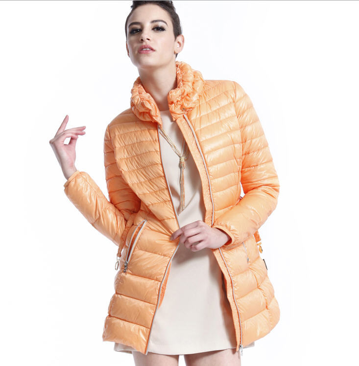 2013 New Winter Slim Stand Collar Casual 90% Duck Down Jacket Women Floral Pleated Adjustable Waist Sashes Down Coat H825