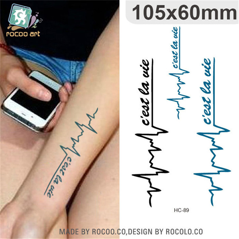 Body Art waterproof temporary tattoos for men and women fashion 3d electrocardiogram design tattoo sticker Wholesale HC1089