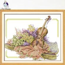 Joy Sunday,Violin,Chinese cross stitch embroidery set,printing cloth kit,cross pattern,cross needlework