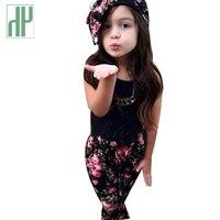HH mùa hè Toddler Cô Gái quần áo T shirt + Flowers quần Đặt In Bow kids quần áo cho cô gái 3 ~ 8 năm trẻ em thể thao suits