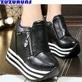 Женщины высота увеличение платформа плоские туфли ультра легкий дамы тренеров обувь женская клин квартиры zapatillas mujer ботильоны 216
