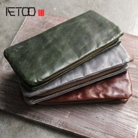 AETOO Original personality retro oil wax leather wallets men and women long organizer wallet multi card holding bag Vintage