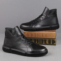 High-Top Männer frauen Casual Schuhe Echtes Leder Loafers Business Täglichen Freizeit Weiche Hohe Elastische Boden Schuhe Winter Samt warme