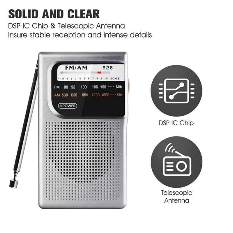 926 Mini Portable FM/AM Radio Transmitter and Receiver High Quality Speaker and 3.5mm Earphones Port Profession Radio Player