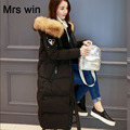 25cm Large Real Natural Raccon Fur 2016 New Fashion Winter Jacket Women White Duck Down Parka Thicken Warm Coat Female Jacket