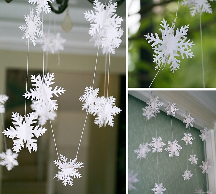 13pcs set Christmas Paper Decoration Kit Snowflake Fans Garland Banner Paper Crafts Hanging Decoration Romantic Adornment in Pendant Drop Ornaments from Home Garden