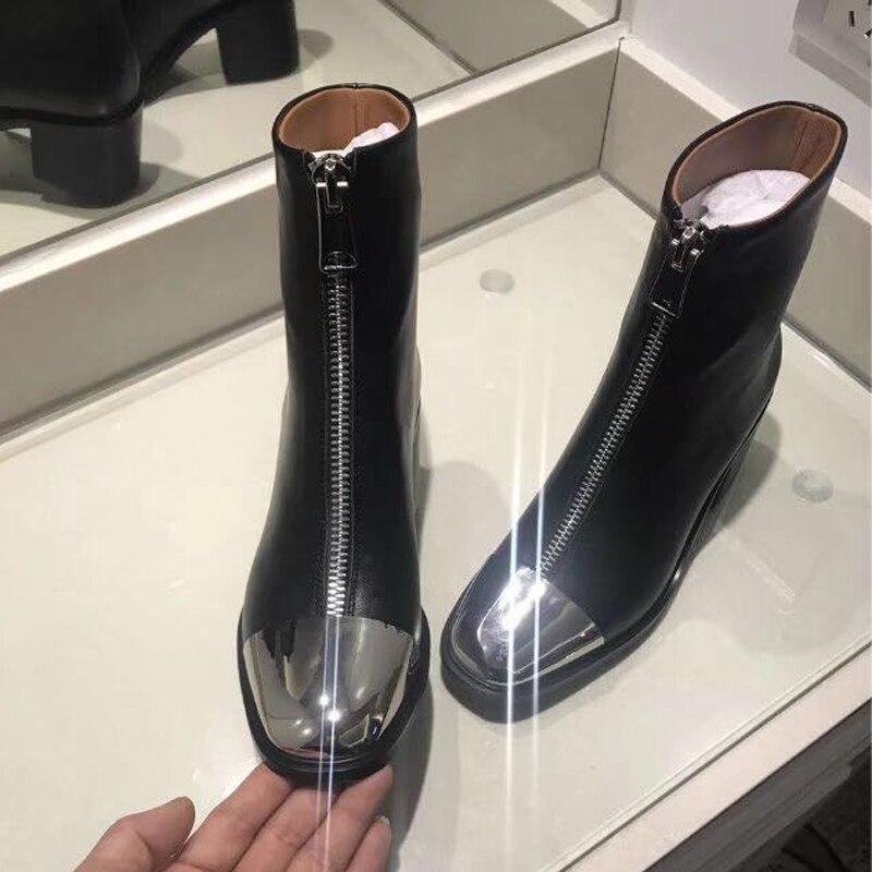 Martin Femmes Chunky Talons Black Pour Britannique Bottes Cuir Fer Avant Métal Hauts En Véritable Mode De D'orteil Dames Cheville Style Zip qROw8c