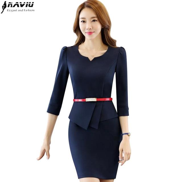 3e2b49445b6df US $23.16 17% OFF New Spring OL one piece dress Half sleeve fashion V neck  slim hip medium dress office ladies plus size work wear uniform -in Dresses  ...