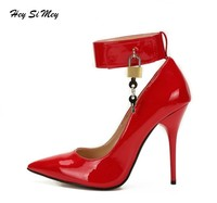 Women's Pumps Shoes Sexy Thin Heel High Heels 12CM Pointed Toe Pumps Women Shoes Fashion Padlock Stitching Shoes Large Size 48