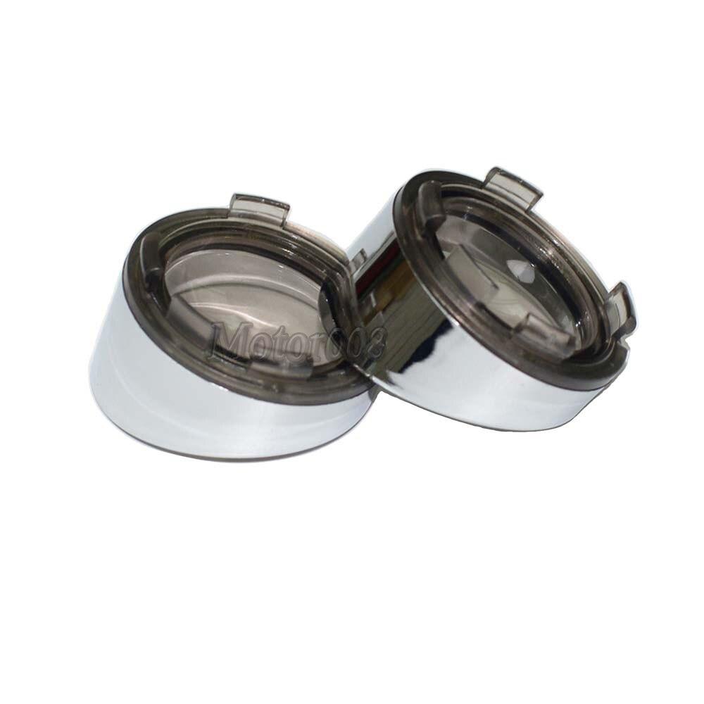 Chrome Visor-Style Turn Signal Bezels Smoke Lens Fit For Harley Touring FLHX