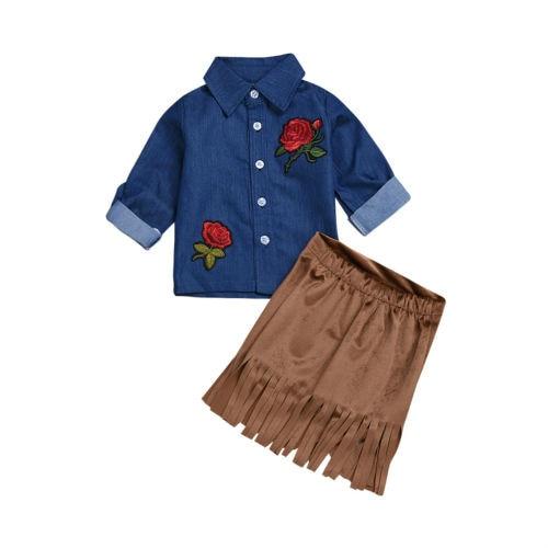 Toddler Kids Baby Girl 3D Flower Tassels Clothing 2Pcs Sunsuit Set Baby Girls Summer Off Shoulder Tops+Denim Shorts Clothes Set