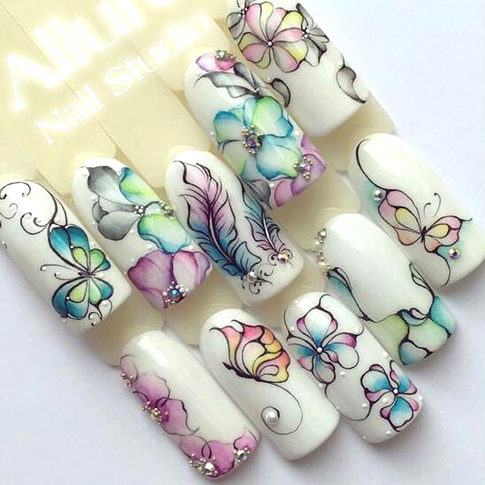Colorful Purple Flowers Nail Water Transfer Manicure Decals Decoration Stickers