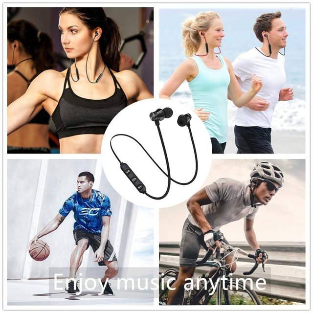 Magnetic Wireless Bluetooth Earphone Stereo Sports Waterproof Earbuds Wireless in-ear Headset with Mic For IPhone 7 Samsung 6
