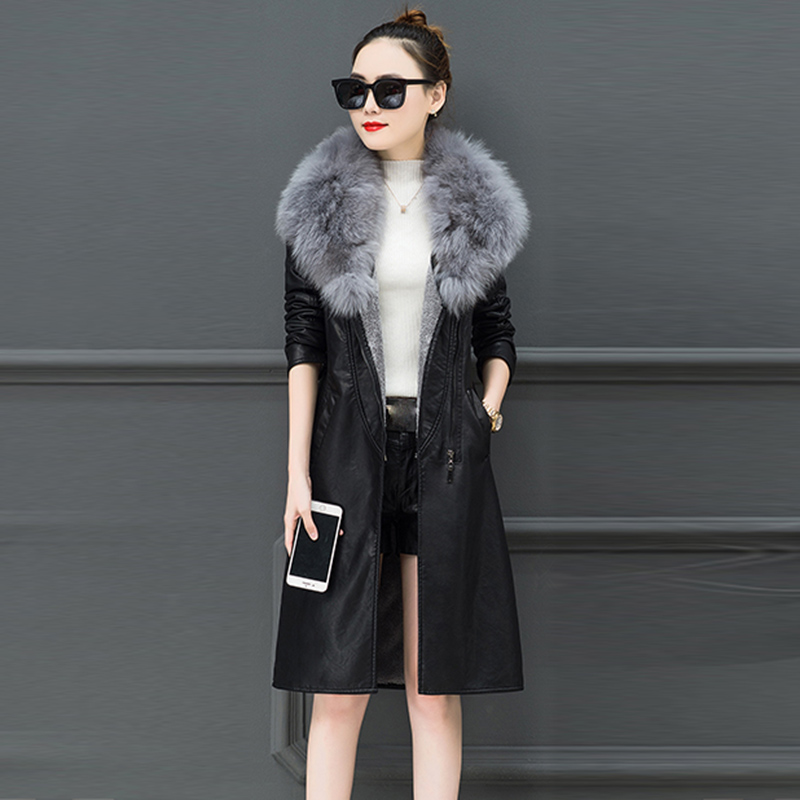 Fake   Leather   Womens Casual coats   Leather   Overcoats Long Section Fur Collar   Leather   Jackets Female   Leather   Coats Jaqueta De Couro