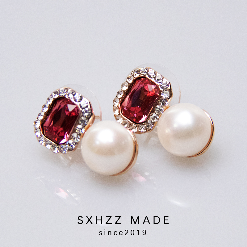 SXHZZ Natural Freshwater Pearl 925 Silver Stud Earrings Fine Jewelry 10MM White Round Pearl Handmade Jewelry Accessory for Women in Earrings from Jewelry Accessories