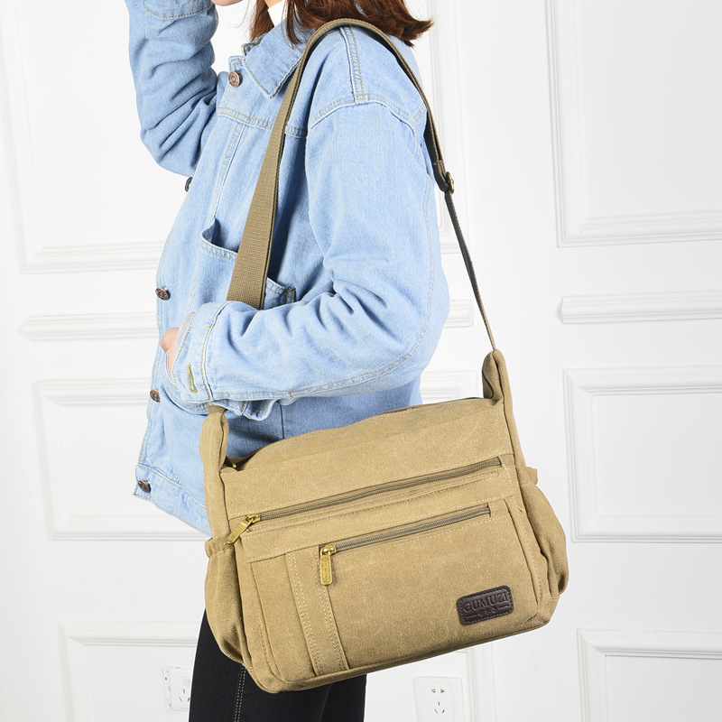Men 39 s and women 39 s new multi color casual canvas shoulder bag fashion retro zipper multi pack oblique cross package cross section in Crossbody Bags from Luggage amp Bags