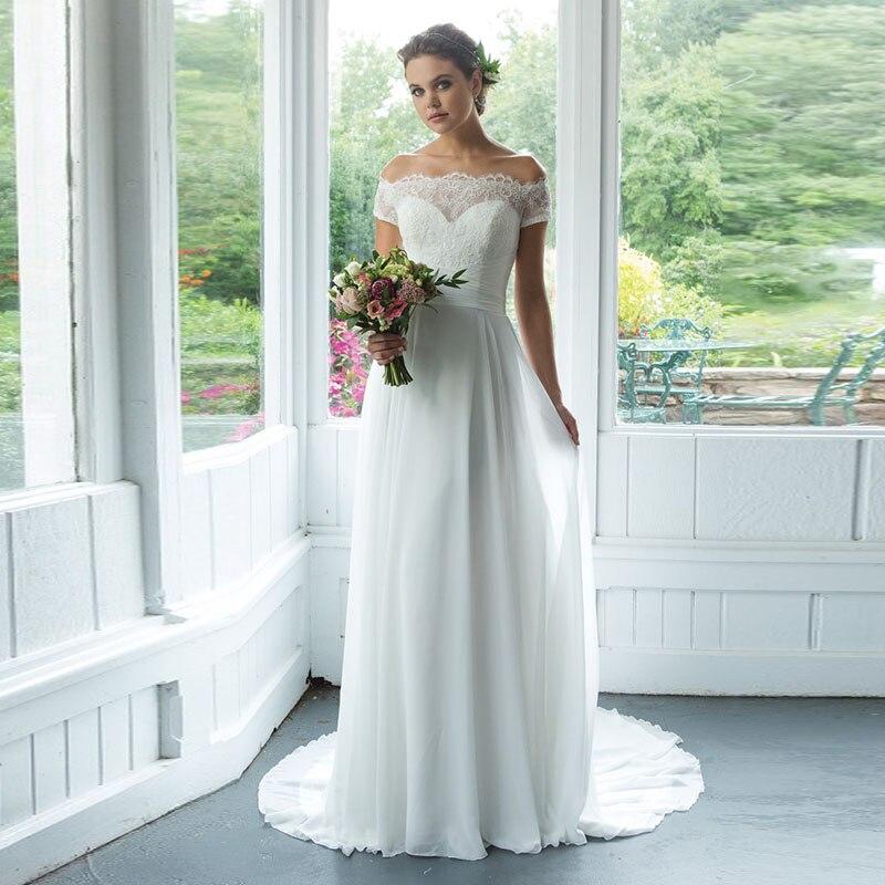 Eightale Vintage Wedding Dress Boat Neck Bridal Dress 2019 Short Sleeves Wedding Gowns Chiffon Appliques Lace Vestido De Noiva