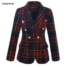 SWYIVY Womens Suit Woolen Coat Full Plaid Turn-down Collar Double Breasted Blazer Slim OL Autumn And winter Female