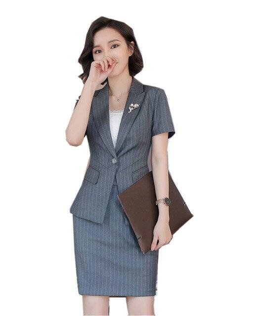 2018 nouvelles femmes costumes slim work wear bureau dames à manches  courtes blazer jupe costumes costumes
