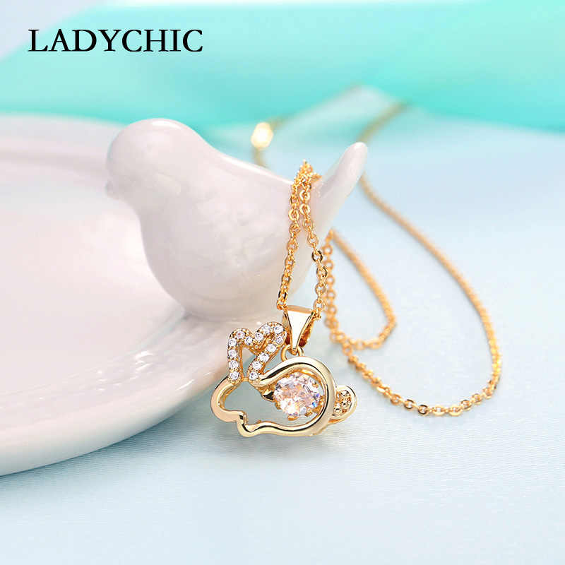 Ladychic Lucu Kelinci Kristal Liontin Kalung Emas Warna Hewan Peliharaan Kelinci Fashion Perhiasan Aksesoris untuk Wanita Pesta Hadiah LN1125