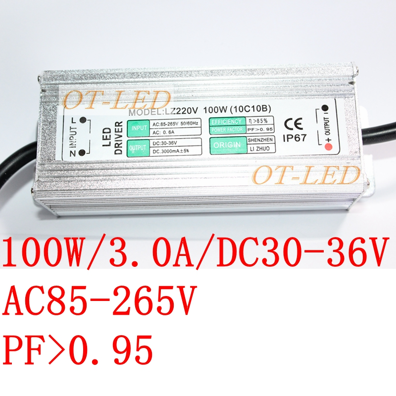 100W IP67 Waterproof LED Power Supply 3000MA 20V - 36V LED Driver Adapter Flood Lights Tunnel Light Street Lights110V 220V CE 90w led driver dc40v 2 7a high power led driver for flood light street light ip65 constant current drive power supply