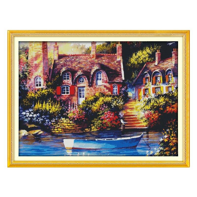 Joie dimanche point de croix conte de fées cottage scénique DMC14CT11CTcottonfabric salon dininghall restaurant maison hôtel peinture